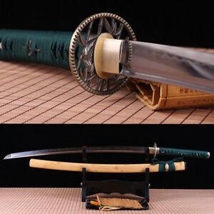 T10 steel Clay tempered japanese samurai katana sword full tang sharp blade.
