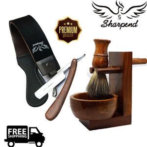 Barber-Style-Shaving-Set-Straight-Razor-Cut-Throat-amp-Pure-Black-Badger-Brush