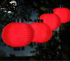 Outdoor Solar Chinese Lanterns - LED - Set of 4 - Red- For Garden, Patio, Yard