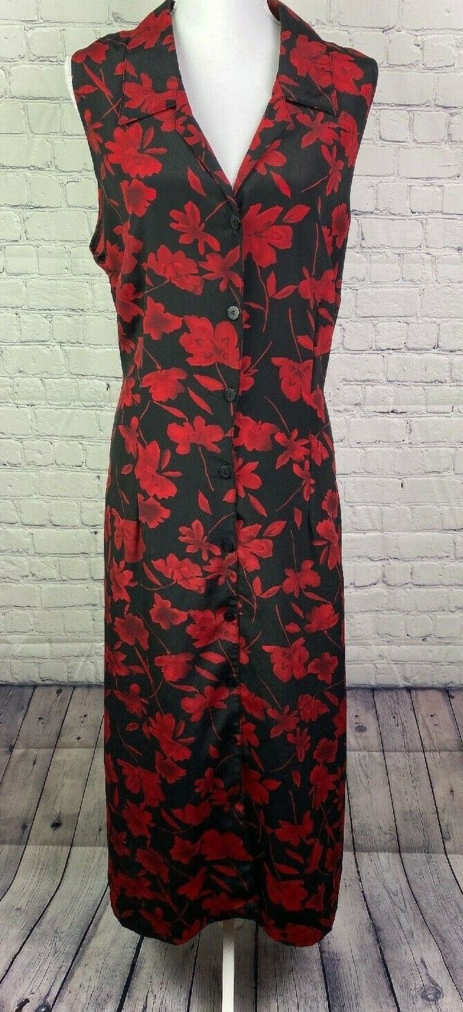 Vintage 1990's Womens's Long Dress by Elisabeth Black w/ Red Floral Size 16W USA