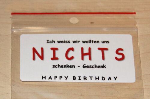 NICHTS Geschenkidee Geburtstag Geschenktüte lustig witzig Geschenk Gag NEU