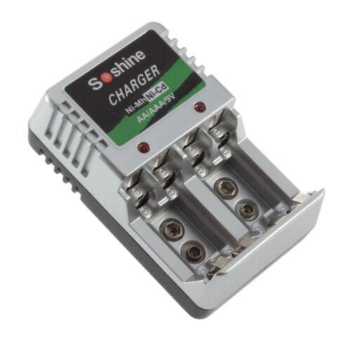Batterieladegerät Akku Batterie Ladegerät Schnellladegerät AA AAA 9 V Block ER