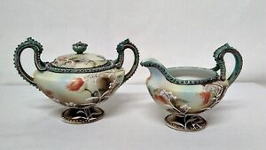 Japanese-Moriage-Footed-Creamer-and-Sugar-Bowl-Vintage