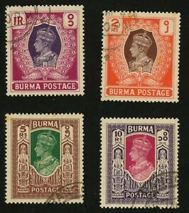 1946-Burma-Stamps-Scott-62-65-All-Used-H