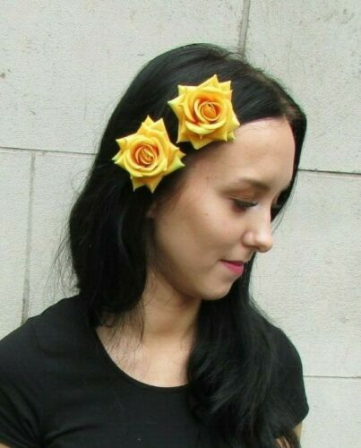 2 x Mustard Yellow Rose Flower Hair Clips Fascinator Wedding Races Floral 7277
