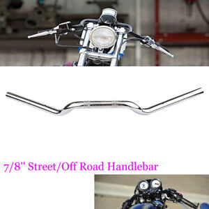 moto-Guidon-chrome-7-8-034-22mm-Drag-Bars-pour-Triumph-Harley-KTM-Touring-Bobber