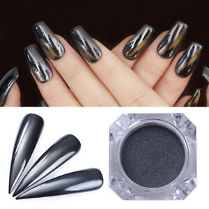 Image Is Loading Black Mirror Nail Powder Shining Art Chrome