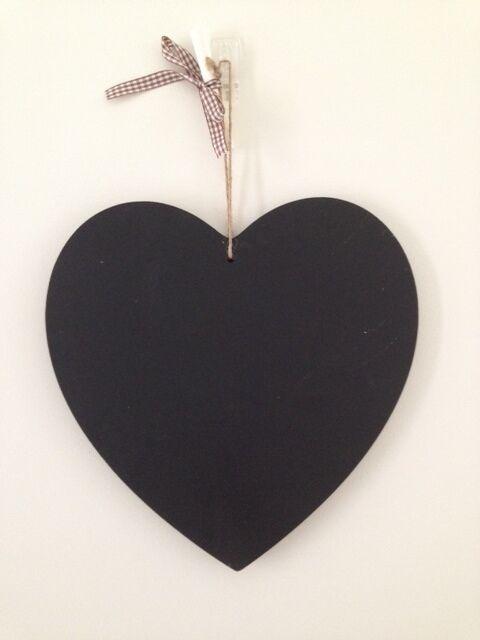 NEW 20cm Wood Wooden Heart Hanger Blackboard Chalkboard Double Sided with Rope