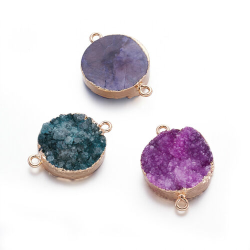 5pcs Druzy Natural Agate Stone Charm Connectors Gold Tone Round Findings 30~40mm