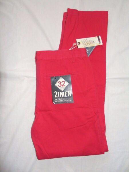 21 Uomini Un Marchio Americano Rosso Smart Pantaloni Chino Slim W32 L31 Ultima Tecnologia