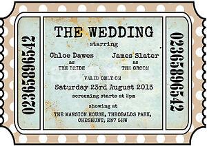 Personalised Vintage Theatre Cinema Ticket Wedding Invitations Packs