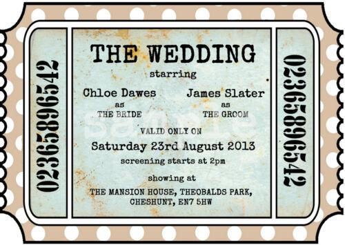 Personnalisé vintage theatre//cinema ticket mariage invitations packs de 10