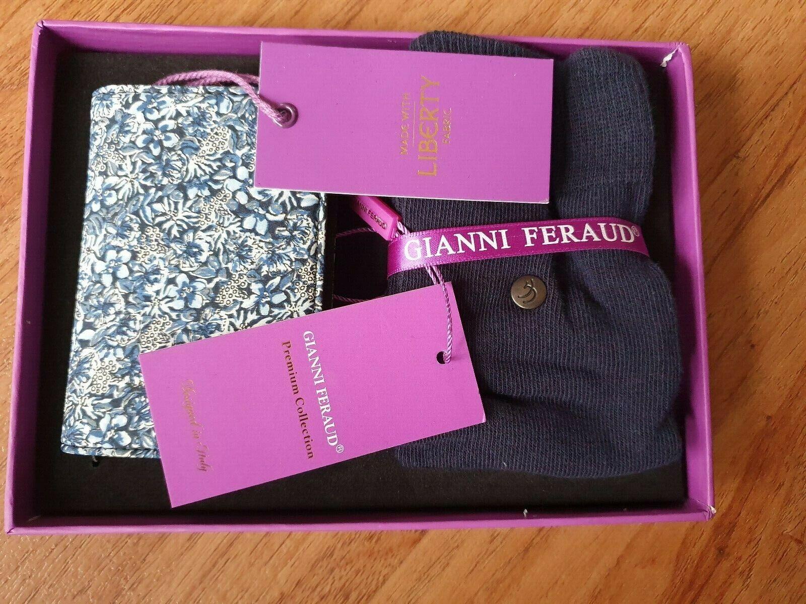 GIANNI FERAUD LIBERTY Print Card Holder & Socks Blue Gift Set Boxed Rrp