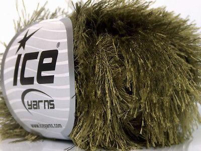 Dark Sage Green Eyelash Yarn #50638 Ice Green Fun Fur 50 Gram