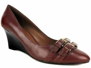 0367a1db4135d Nine West Women s Zabaar Wedges Cognac Brown Leather Pumps Size 8.5 ...
