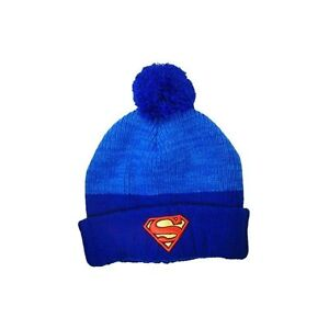f38b326accc DC Comics Blue Superman Knit Ages 14   Older Pom Cuff Beanie s NEW ...