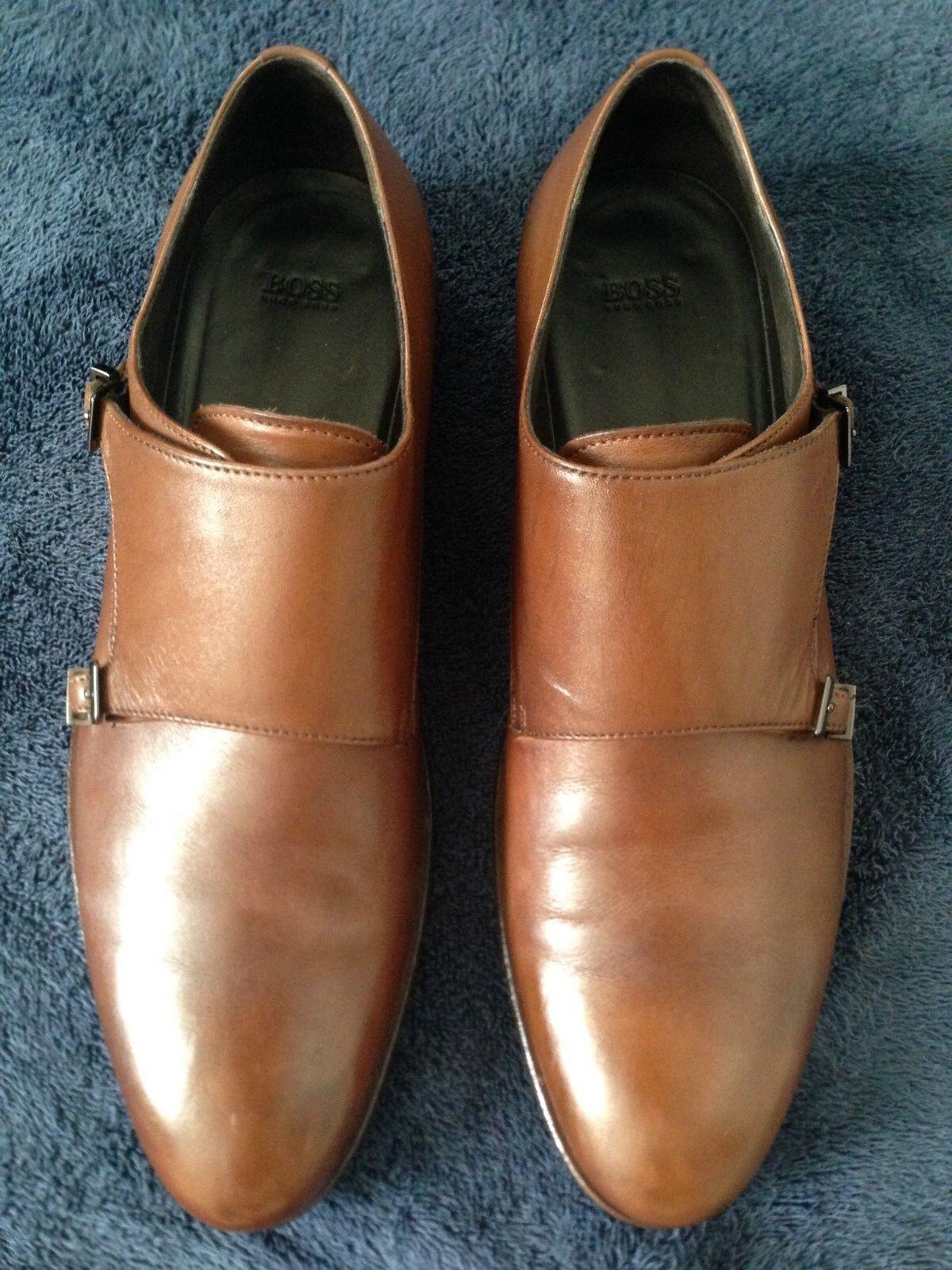 EUC Hugo Boss Men's Hankok Monkstrap Loafers Leather Brown – US 11.5 D
