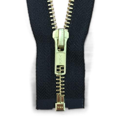 "YKK #5 Open Black Metal Zipper 22/"" Gold Teeth"