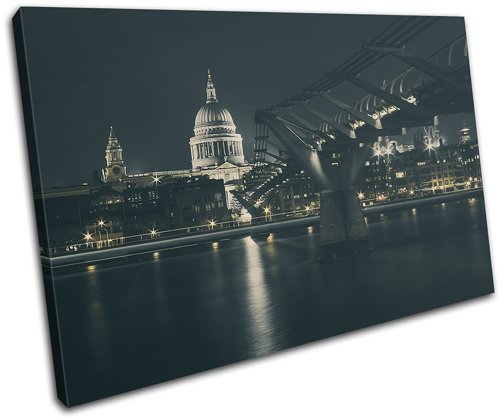 St Paul's Night City SINGLE TOILE murale ART Photo Print