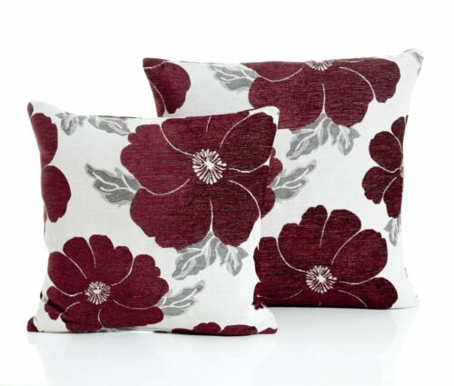 """Poppy Floral Moderne Épais Chenille Housse De Coussin 18/"""" X 18/"""" /& 22/"""" X 22/"""" 8 Couleurs"""