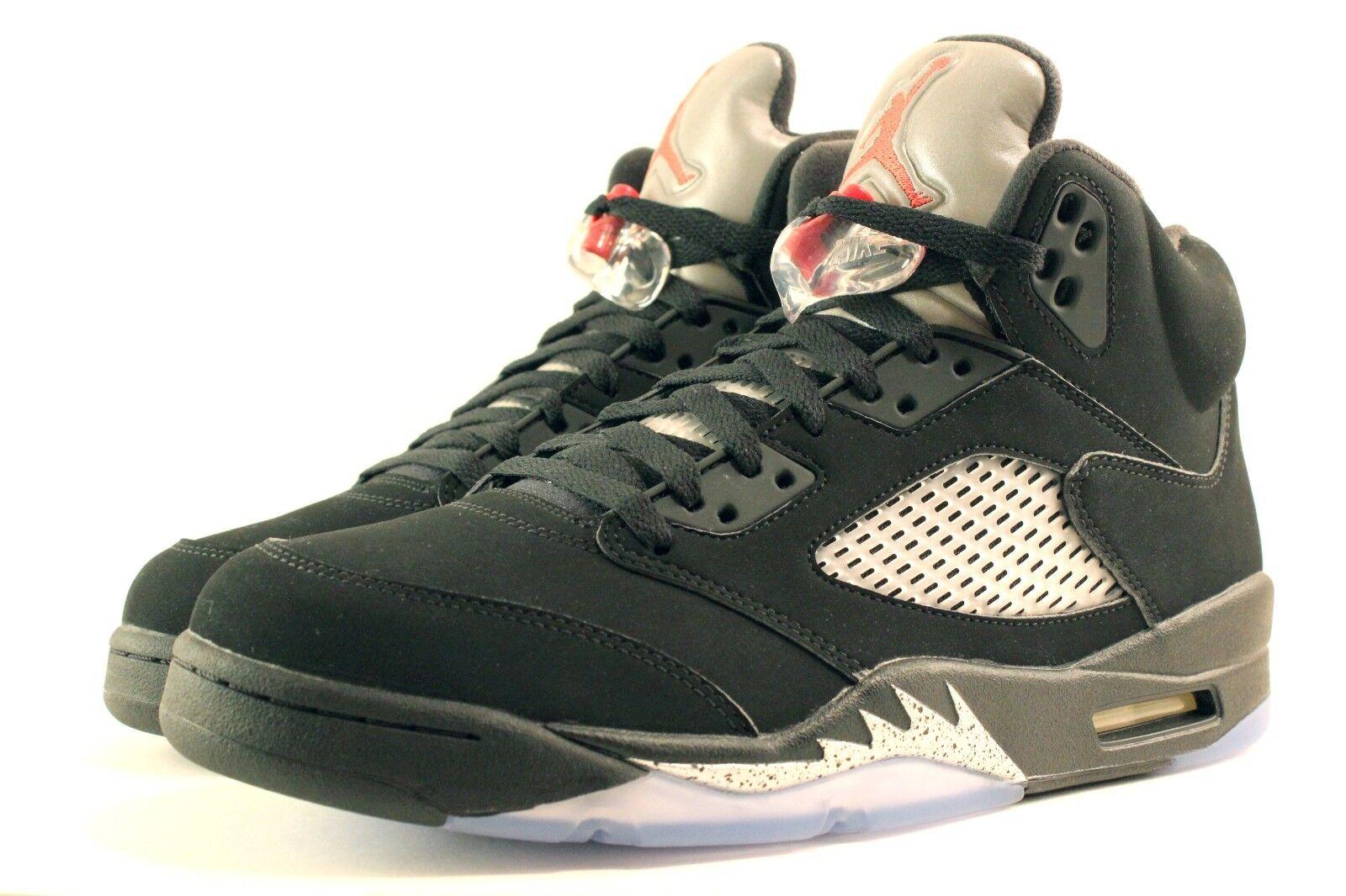 Nike air jordan retrò / 5 og nero argento metallico 845035-003 Uomo dimensioni ds