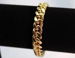 Italian-Made-Mens-Miami-Cuban-Link-14k-GOLD-Bracelet-10mm