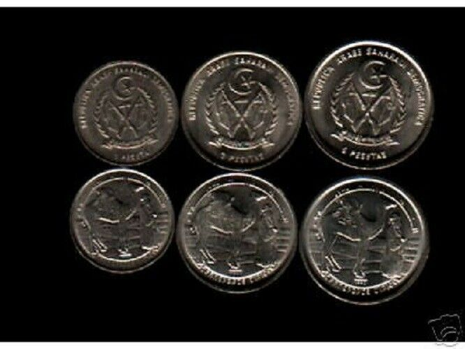 UNC * 1 Peseta // 5 Pesetas 1992 SAHARAWI Lot of 3 Coins West Sahara