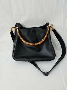 Gucci-Womens-Leather-Bamboo-Handle-Satchel-2-way-Shoulder-Handbag-Black