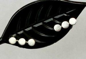 925 Sterling Silver 3 Mini Dots Circle Discs Bar Stud Earrings Geometric