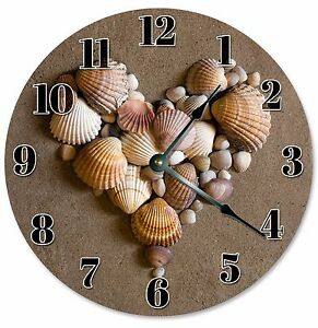 HEART-SHAPED-SHELLS-Clock-Large-10-5-034-Wall-Clock-2102