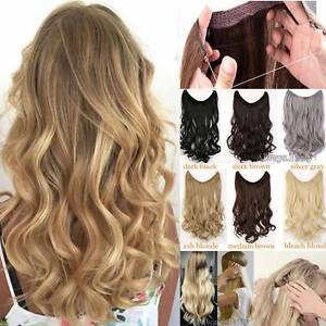 Secret Invisible Headband Wire Hair Extensions One Piece Long Wavy ...