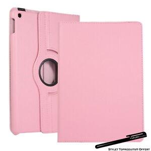 Housse Etui Rose pour Apple iPad 10.2 2020 Coque avec Support Rotatif 360°