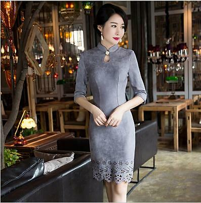 New gray chinese women's 3/4 sleeves suede  dress mini Cheongsam  S-3xL