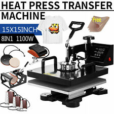8in1 Combo T Shirt Heat Press 15x15 Transfer Machine Sublimation Swing Away Us