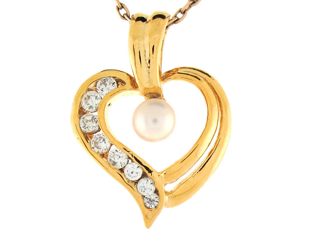 10k or 14k Yellow gold Freshwater Cultured Pearl White CZ Open Heart Slide Charm