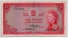 ~ RHODESIA  One Pound (£1) Banknote - 1964 - P25 ~