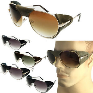 ae8fab6687 Image is loading FAUX-Leather-Side-Shield-AVIATOR-SUNGLASSES-Classic- Motorcycle-