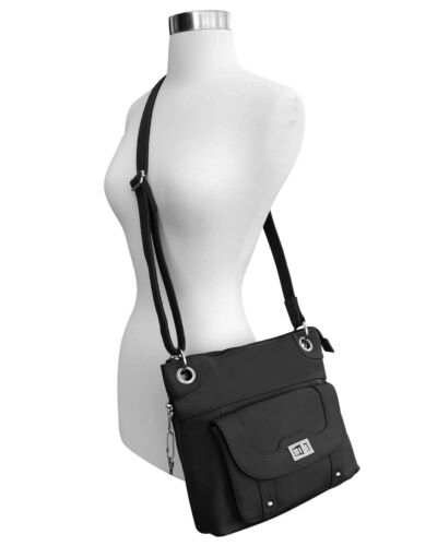 Concealed Carry Cross Body Leather Gun Purse with Locking Zipper Black CCW CWP