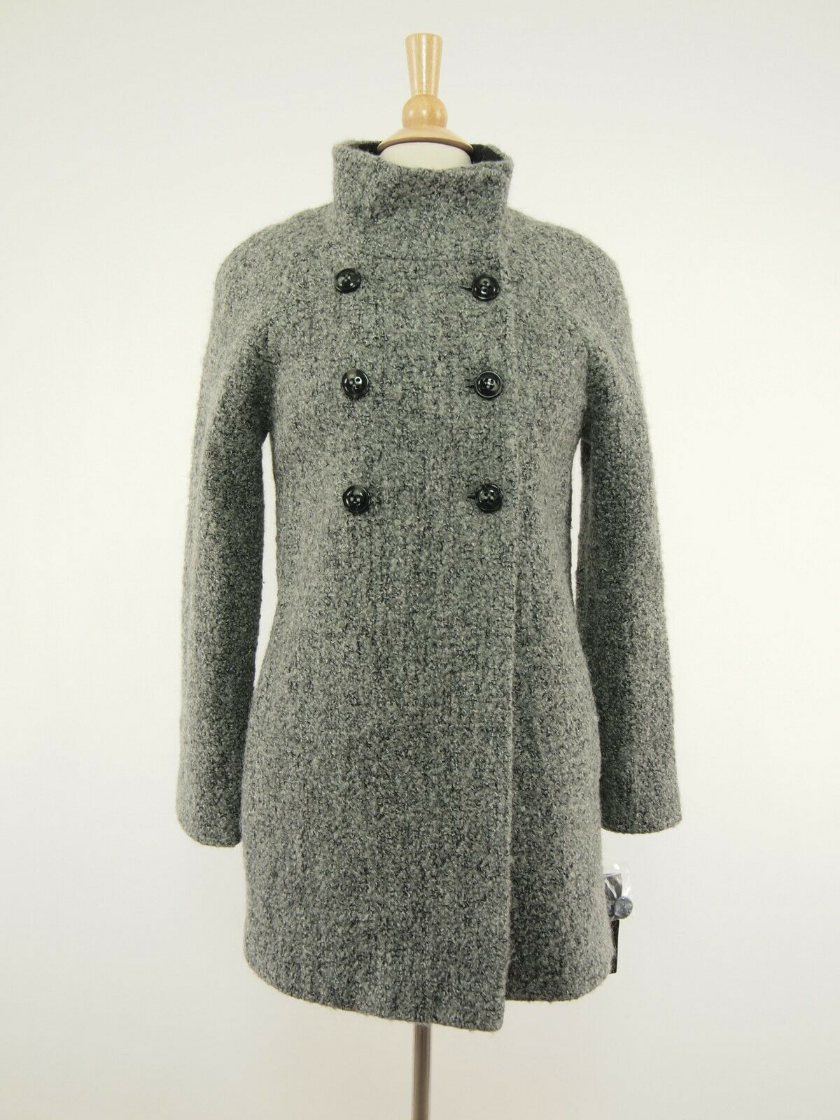 New DNKY women Karen 42315 Charcoal Heather Wool Double-breasted Coat 6