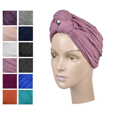 Womens Turban Headscarves Solid Color Alopecia Cancer Tichel Modest Headwraps