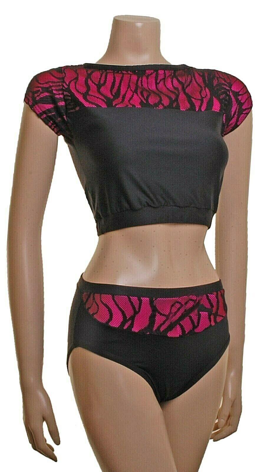 Pole Tanz Fitness Wear Dynamix Top & & & Nix Schwarz Meryl   Fluoreszierend Rosa   207ae5