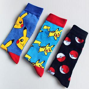 Men Fashion Pikachu in Pokemon Autumn Winter Tube Socks Warm Cotton Socks New