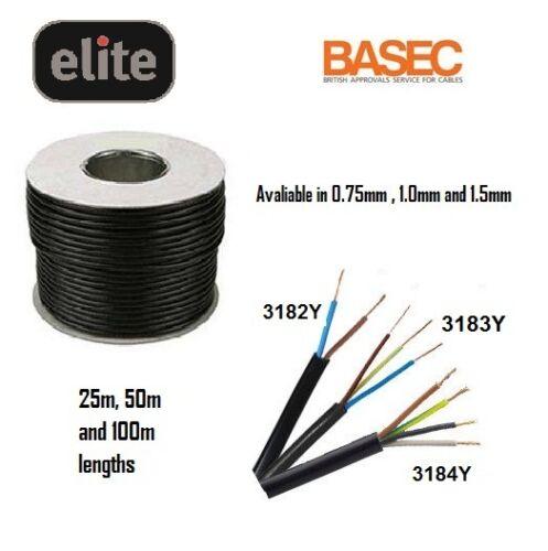 BLACK FLEXIBLE CABLE 2 CORE 4 CORE FLEX 0.75MM 1.5MM 25M 50M 100M LENGTHS
