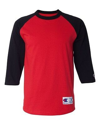 Champion Mens 3/4 Sleeve Raglan Baseball T-Shirt T137 S - 3XL Sports Raglan