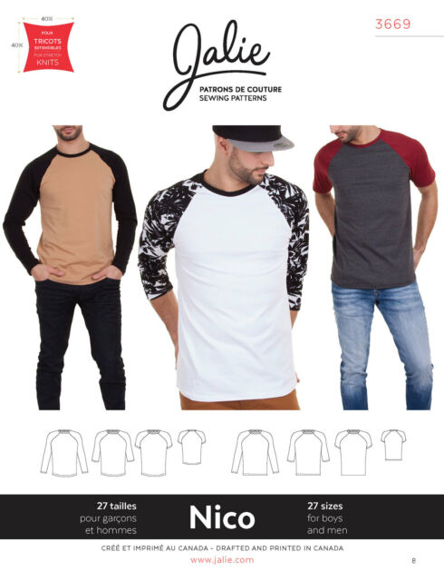 Jalie 3669 Nico Men\'s & Boys\' Raglan Tee Shirt Short/long Sleeve ...
