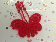 Butterfly Appliques Lace Sew on Red 4.7cmx6cm clothing CRAFT Pack 2 Post free UK