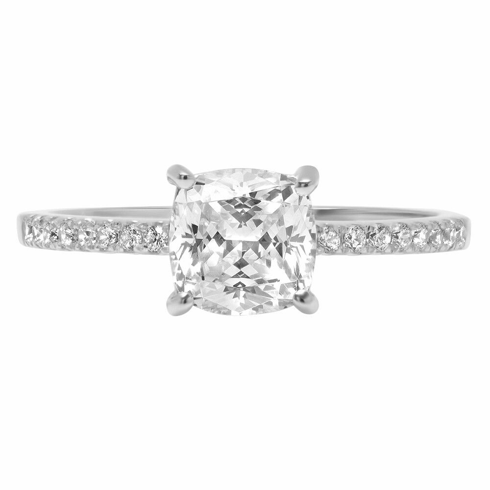 1.76 Cushion Round Cut Engagement Bridal Accent Anniversary Ring 14k White gold