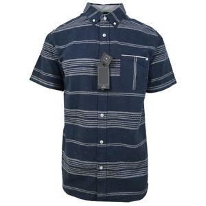 Rip-Curl-Men-039-s-Navy-Stripe-S-S-Woven-Shirt-Retail-55