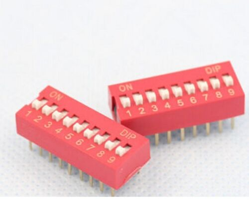 50PCS Red 2.54mm Pitch 9-Bit 9 Positions Ways Slide Type DIP Switch J12