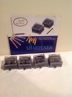 Lot Of 4 X Black Dual Pencil Sharpener With Cover Made For Cosmetic Pencils
